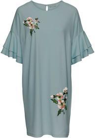 Bonprix Sukienka z krepy z dżerseju, z haftem matowy zielony