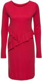 Bonprix Sukienka z dżerseju z falbanami czerwony
