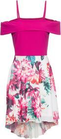 Bonprix Sukienka z dżerseju z drukowaną częścią spódnicową z szyfonu różowy w kwiaty
