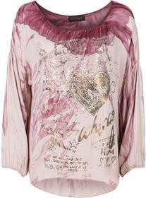 Bonprix Shirt z połyskującym nadrukiem bladoróżowo-bordowy z nadrukiem