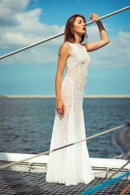 Dafne Boho sukienka ślubna style ecru siateczka