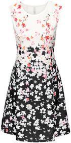 Bonprix Sukienka neoprenowa czarno-kremowy wzorzysty