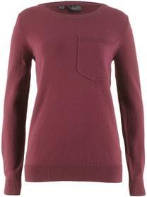 Bonprix Sweter z kieszonką czerwony klonowy