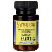 Swanson Melatonina 3mg (3000mcg) podwójne uwalnianie 60 tabletek