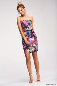 Sukienka tuba z paskiem - kwiaty