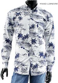 Pako Lorente Koszula męska 29/38, biała w granatowe palmy, długi rękaw, 100% bawełny, slim fit