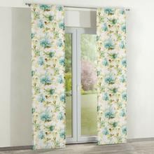 Dekoria Zasłony panelowe 2 szt. turkusowo-oliwkowe kwiaty na białym tle 60 x 260 cm Acapulco 350-141-35