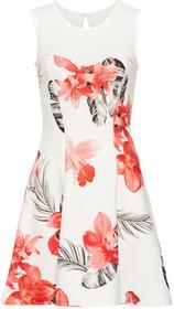 Bonprix Sukienka z kwiatowym nadrukiem biały twill - różowy