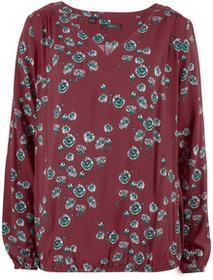 Bonprix Szeroka bluzka, długi rękaw czerwony klonowy z nadrukiem
