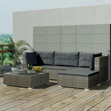 vidaXL Zestaw wypoczynkowy do ogrodu, 14 części, polirattan, szary