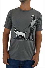 "Faces tshirt Faces męski T-shirt ""Banksy Keith Haring Dog"" szary koszulka T-shirt serigraphie ręczna z wodą -  szary B01MY7NE87"