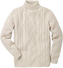 Bonprix Sweter z golfem kremowy