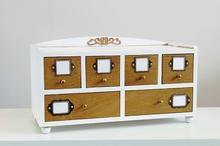 retro szufladki na spinki , szczotki, grzebienie