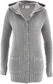 Bonprix Sweter rozpinany z kapturem jasnoszary melanż