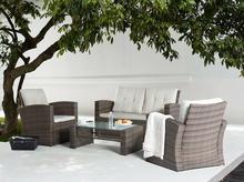 Meble ogrodowe - rattanowe - tarasowe - stół + sofa + 2 fotele - LUCA