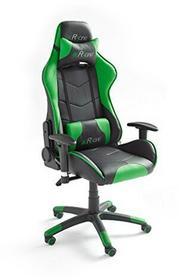 MC Racing 12 fotel gamingowy z podłokietnikami, fotel biurowy, fotel biurkowy, o wyglądzie sportowego fotela kierowcy, w zestawie z poduszką, skóra syntetyczna, wymiary ok. 69x125135x58cm, czarny 62498SU3
