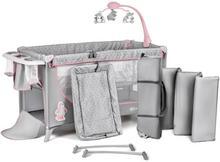 KinderKraft 4Kraft Joy, Łóżeczko turystyczne z akcesoriami, Pink