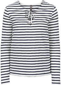 Bonprix Shirt z długim rękawem i sznurowaniem biel wełny - ciemnoniebieski w paski