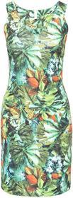 Bonprix Sukienka z tropikalnym nadrukiem zielono-brązowo-biały