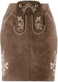 Bonprix Spódnica skórzana z haftem ciemnobrązowy