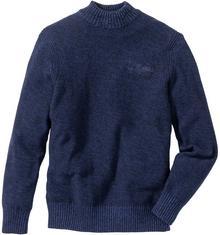 Bonprix Sweter ze stójką Regular Fit kobaltowy melanż