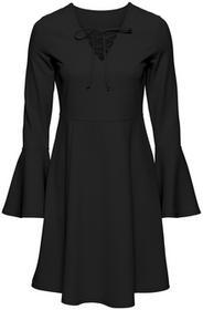 Bonprix Sukienka ze sznurowaniem czarny