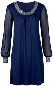 Bonprix Sukienka z aplikacją ze sztrasów ciemnoniebieski
