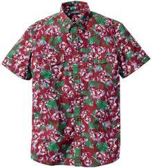 Bonprix Koszula z krótkim rękawem Slim Fit bordowy z nadrukiem