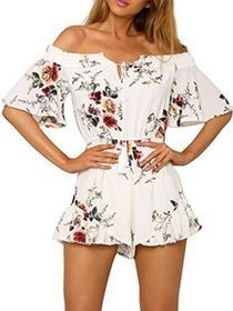 Simplee Apparel damska elegancka lato Jumpsuit kwiaty Floral shulter swobodnie klied zabawy szyfon kombinezon Romper z falbankami Biały, kolor: biały , rozmiar: 38 B01MYF7E3P