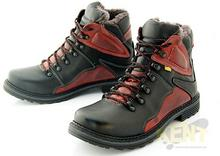 KENT KENT 220 CZARNO-CZERWONE - Wysokie buty zimowe ze skóry, naturalne futro