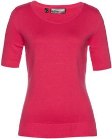 Bonprix Sweter, krótki rękaw różowy hibiskus