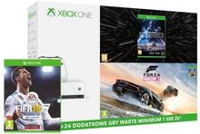 Microsoft Xbox One S 500GB Biały +  Forza Horizon 3 + Hot Wheels + FIFA 18 + Star Wars Battlefront II + XBL 6 m
