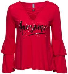 Bonprix Shirt z marszczeniem czerwony z nadrukiem