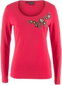 Bonprix Shirt z haftem czerwony