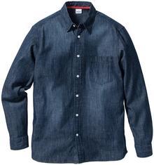 Bonprix Koszula dżinsowa z długim rękawem Regular Fit ciemnoniebieski