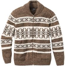 Bonprix Sweter rozpinany norweski z domieszką wełny Regular Fit ciemnobrązowo-beżowy wzorzysty