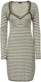 92eeed3ed7 Bonprix Sukienka dzianinowa ciemnooliwkowo-biel wełny