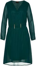 Bonprix Sukienka ze sznurowaniem w dekolcie głęboki zielony