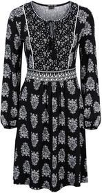 Bonprix Sukienka z dżerseju z wiązanym paskiem czarny z nadrukiem