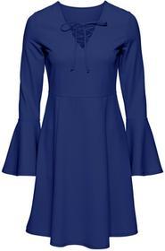 Bonprix Sukienka ze sznurowaniem kobaltowy