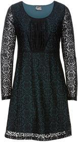 Bonprix Sukienka z koronką niebieskozielony morski - czarny
