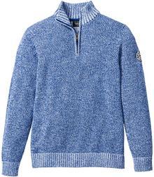 Bonprix Sweter ze stójką Regular Fit niebiesko-biały melanż