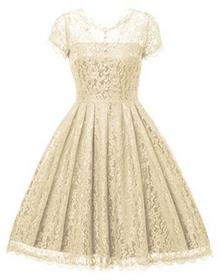 Gigileer Gigi leer elegancki damski sukienki sukienka koktajlowa sukienka koronkowa kolana o każdej porze dnia Vintage 50er roku na ślub, przyjęcie, kolor: kremowy , rozmiar: XL(DE 44-46) B07C26XP4B