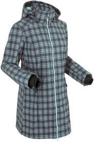 Bonprix Długa kurtka softshell z polarem barankiem morski pastelowy - szary w kratę