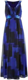 Bonprix Sukienka szyfonowa z cekinami szafirowo-czarny z nadrukiem