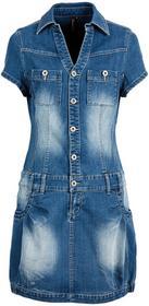 """Bonprix Sukienka dżinsowa z plisą guzikową i kieszeniami na wys. biustu niebieski \""""""""stone"""""""""""