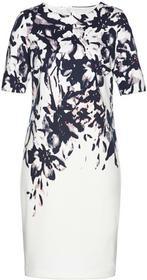 Bonprix Sukienka biel wełny z kolorowym nadrukiem