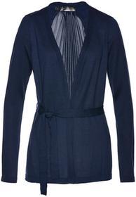 Bonprix Sweter wiązany plisowany ciemnoniebieski