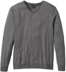 Bonprix Sweter z kaszmirem i dekoltem w serek, Regular Fit dymny szary