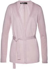 Bonprix Sweter wiązany plisowany matowy jasnoróżowy